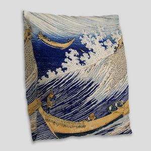 Hokusai Ocean Waves Burlap Throw Pillow