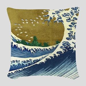 Hokusai Great Wave Woven Throw Pillow