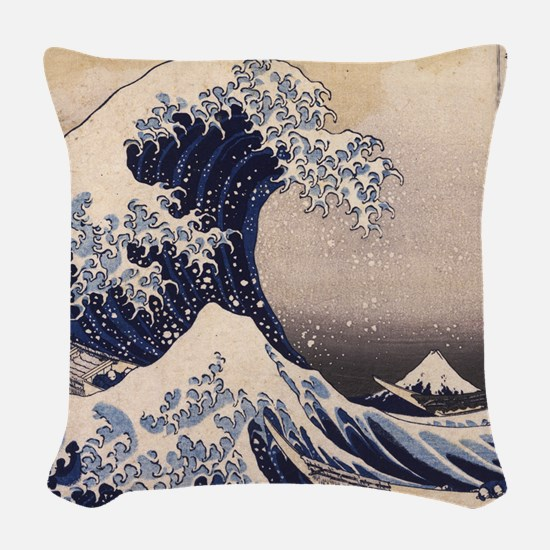 Great Wave by Hokusai Woven Throw Pillow