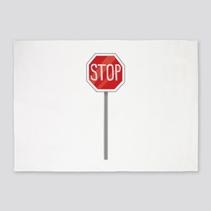 Stop Sign 5'x7'Area Rug
