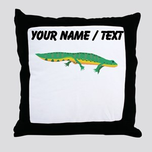 Custom Green Newt Throw Pillow