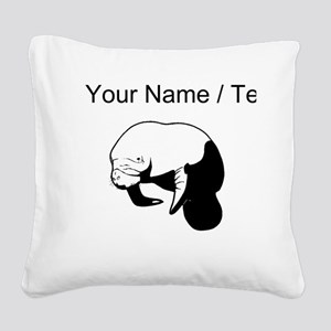 Custom Manatee Square Canvas Pillow