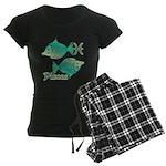 Zodiac Sign Pisces Symbol Women's Dark Pajamas