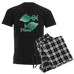 Zodiac Sign Pisces Symbol Men's Dark Pajamas