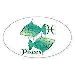 Zodiac Sign Pisces Symbol Sticker (Oval 50 pk)