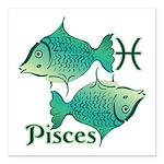 Zodiac Sign Pisces Symbo Square Car Magnet 3