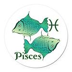 Zodiac Sign Pisces Symbol Round Car Magnet
