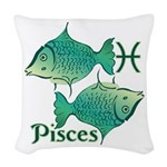 Zodiac Sign Pisces Symbol Woven Throw Pillow