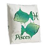 Zodiac Sign Pisces Symbol Burlap Throw Pillow