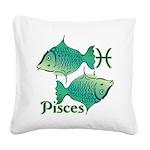 Zodiac Sign Pisces Symbol Square Canvas Pillow