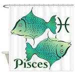 Zodiac Sign Pisces Symbol Shower Curtain