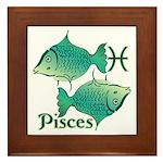 Zodiac Sign Pisces Symbol Framed Tile