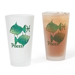 Zodiac Sign Pisces Symbol Drinking Glass