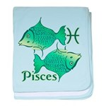 Zodiac Sign Pisces Symbol baby blanket