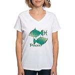 Zodiac Sign Pisces Symbol Women's V-Neck T-Shirt