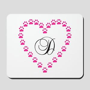 Pink Paw Heart Monogram Letter D Mousepad