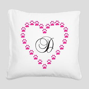 Pink Paw Heart Monogram Letter D Square Canvas Pil