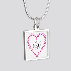 Pink Paw Heart Monogram Letter D Necklaces