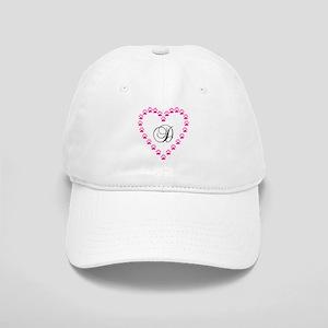 Pink Paw Heart Monogram Letter D Baseball Cap