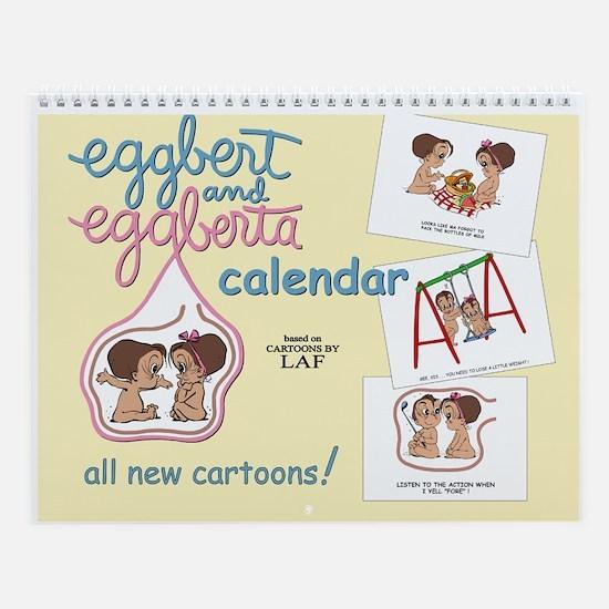 Eggbert & Eggberta (brunet) Wall Calendar