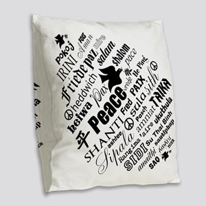 PEACE in different languages Burlap Throw Pillow