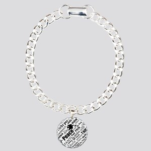 PEACE in different languages Charm Bracelet, One C