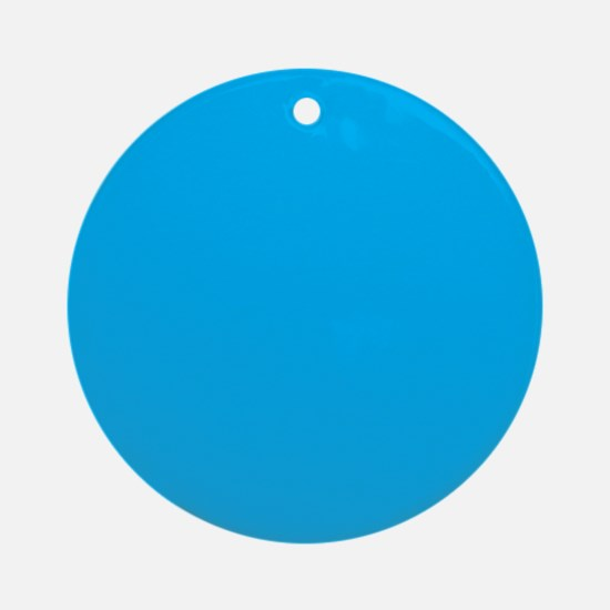 Azure Blue Solid Color Ornament (Round)