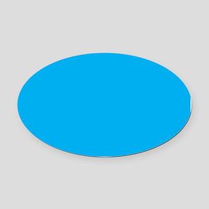 Azure Blue Solid Color Oval Car Magnet