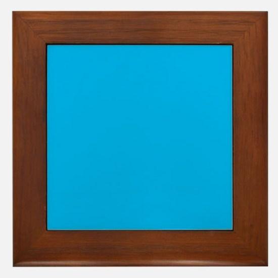 Azure Blue Solid Color Framed Tile