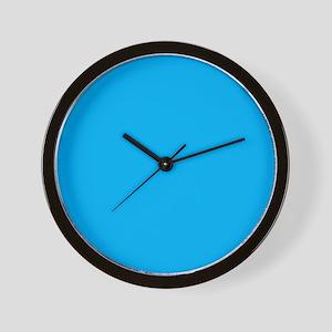 Azure Blue Solid Color Wall Clock