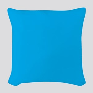 Azure Blue Solid Color Woven Throw Pillow