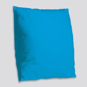 Azure Blue Solid Color Burlap Throw Pillow