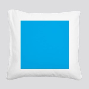 Azure Blue Solid Color Square Canvas Pillow