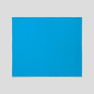 Azure Blue Solid Color Throw Blanket