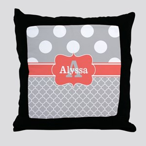 Gray Coral Dots Chevron Personalized Throw Pillow