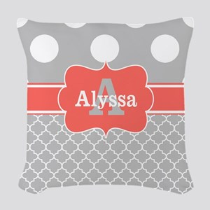 Gray Coral Dots Chevron Personalized Woven Throw P