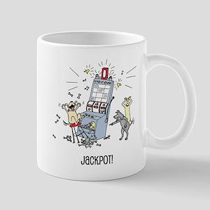 dog hits jackpot Mugs