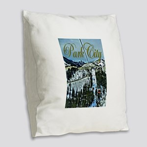 Park City Painted Poster Burlap Throw Pillow