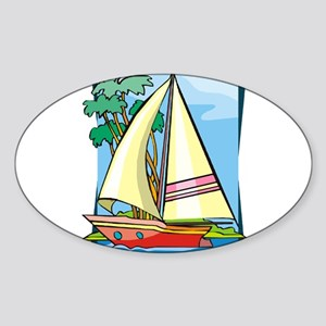 Palm Trees Sailboat Sticker