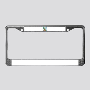 Palm Trees Sailboat License Plate Frame