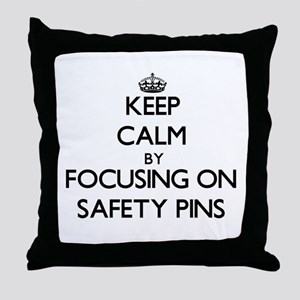 Keep Calm by focusing on Safety Pins Throw Pillow