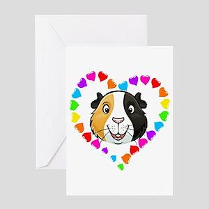 Guinea Pig Heart Frame Greeting Cards