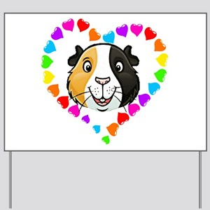 Guinea Pig Heart Frame Yard Sign