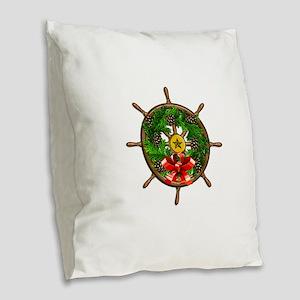 Nautical Ships Wheel Wreath wi Burlap Throw Pillow