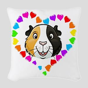Guinea Pig Heart Frame Woven Throw Pillow