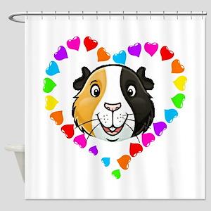 Guinea Pig Heart Frame Shower Curtain