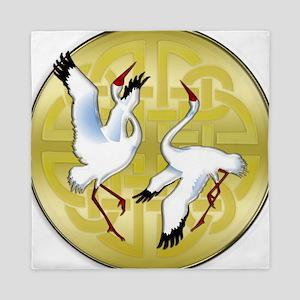 Asian Dancing Cranes on Gold Medallion Queen Duvet