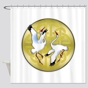 Asian Dancing Cranes on Gold Medall Shower Curtain