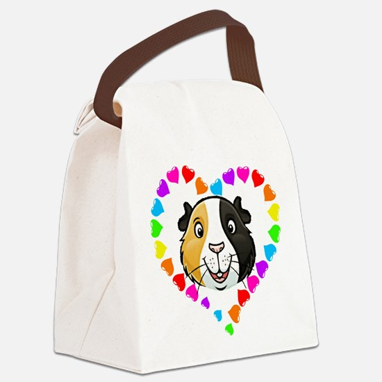 Guinea Pig Heart Frame Canvas Lunch Bag