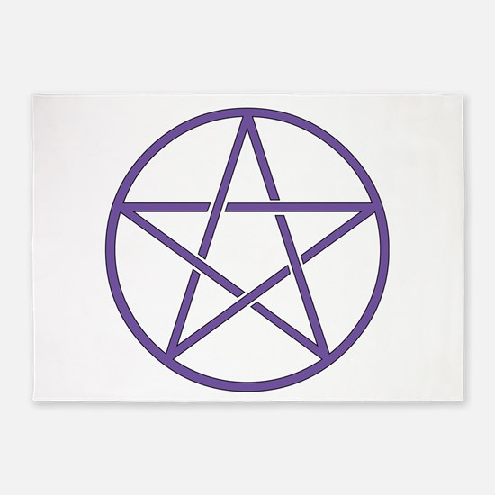 Purple Pentagram 5 X7 Area Rug